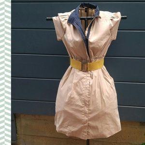 bcbg collared shirt coat dress contrast belted